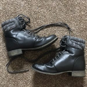 MIA Girl Black Leather Boots SIZE 7